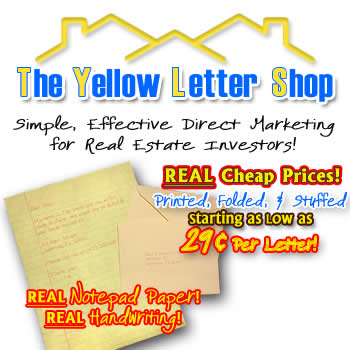 yellow letter direct mail marketing for real estate investors yellowlettershopcom home